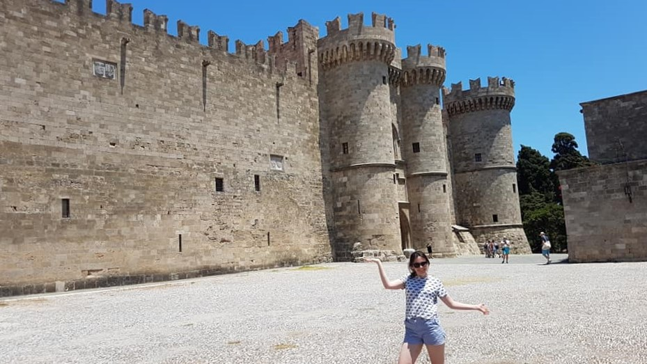 Me posing outside the Grandmasters Palace in Rhodes Old Town