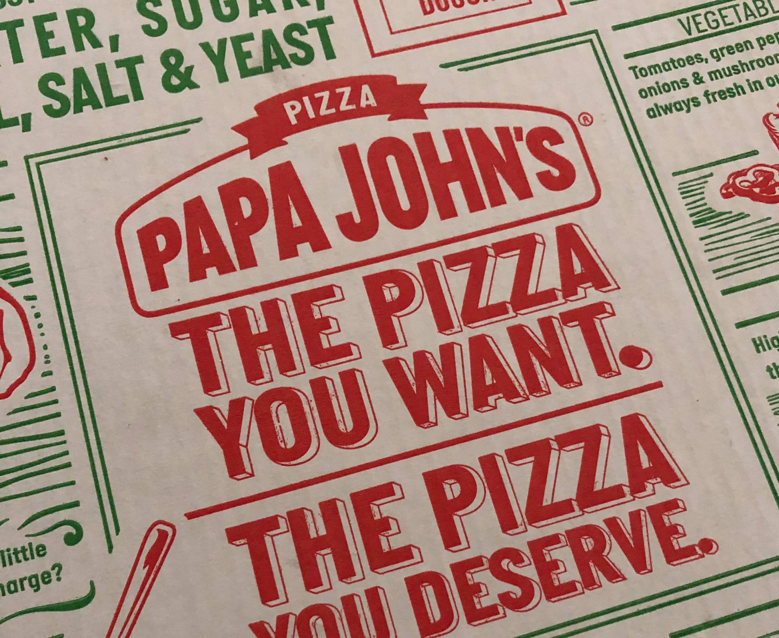 Papa John's pizza box